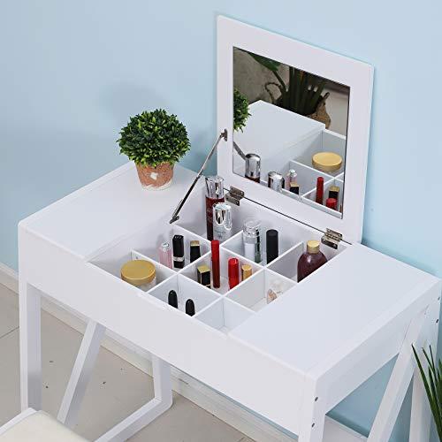 HOMCOM Tocador Mesa para Maquillaje con Taburete Espejo Tapa Abatible 9 Compartimientos de Almacenaje Tocador Moderno 80x50x76cm Blanco Madera