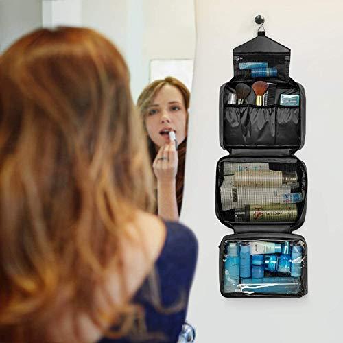 Neceser de Viaje, Neceser Maquillaje Grande para Hombre y Mujer, Carttiya Bolsa de Aseo Impermeable para Colgar, Negro