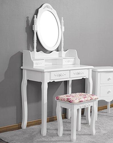 CLOUD SPACE Sonia - Juego de tocador con espejo para maquillaje, taburete acolchado y 4 cajones, color blanco