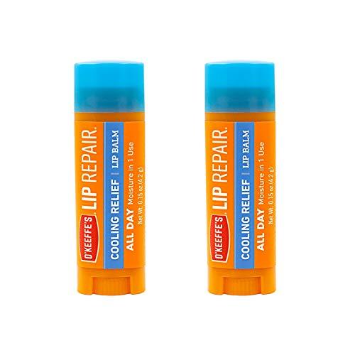 O'Keeffe's Bálsamo labial reparador de labios para labios secos y agrietados, palo, paquete de 2
