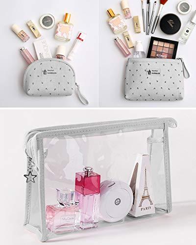 KSIBNW 3 en 1 Estuche de Maquillaje Portátil Impermeable PVC Transparente Neceser de Viaje con Estuche de Transporte Estuche Organizador de Maquillaje Cosmético con Cremallera para Mujeres y Niñas