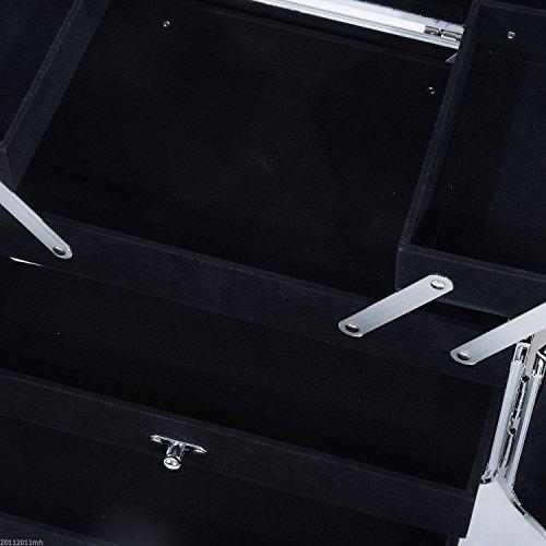 HOMCOM Maletín de Maquillaje Organizador Cosméticos Profesional Estuche para Maquillaje Caja de Belleza Portátil Varios Compartimientos 29x21x20cm Aluminio