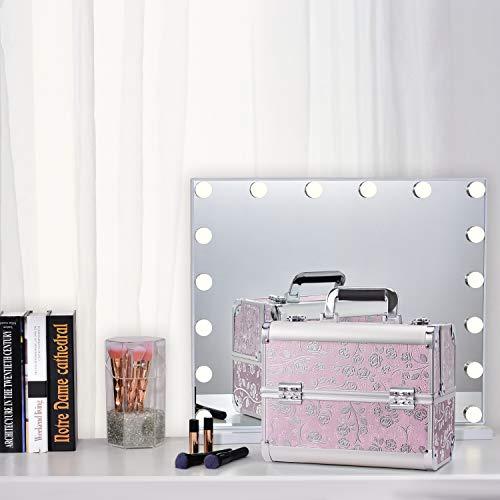 Maletín Maquillaje Profesional Rosa Estuche Maquillaje Mujer Caja Maquillaje Joyero Organizador Esmaltes de Uñas Maletín para Manicura Vacío de Viaje Regalos para Mujer, Rosa