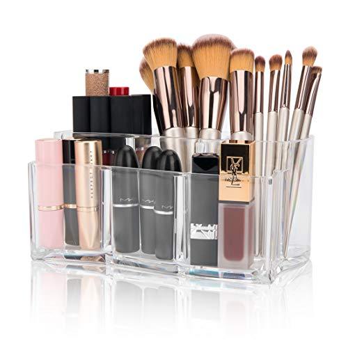 Tompig Organizador de Cosméticos Organizador de Maquillaje Caja para Cosméticos, Organizador de Maquillaje con 6 Compartimentos para Guardar Maquillaje Cosméticos y Productos de Belleza