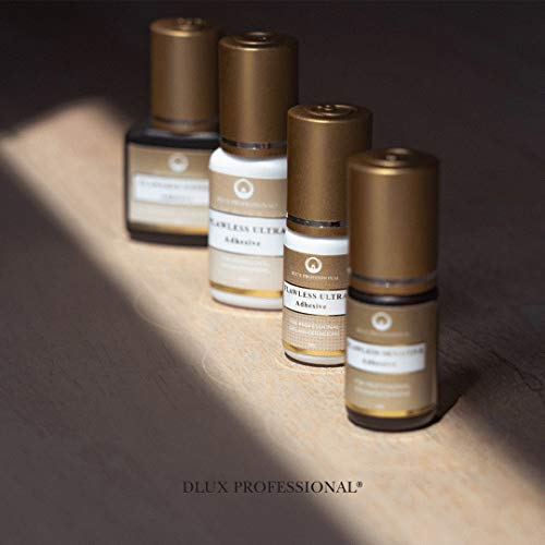 Pegamento para extensión de pestañas, Dlux Professional Flawless Expert, 5 ml negro, secado rápido (2-3 segundos), de larga duración (5-7 semanas) ...