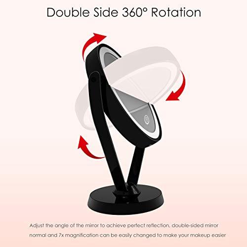 Espejo de Maquillaje de Doble Cara Aumento 1x/7x con Luces LED, Espejo Cosmético Iluminado con 3 Niveles de Brillo Ajustable por Interruptor Táctil, Espejo de Vanidad Giratorio de 360 Grados para Baño