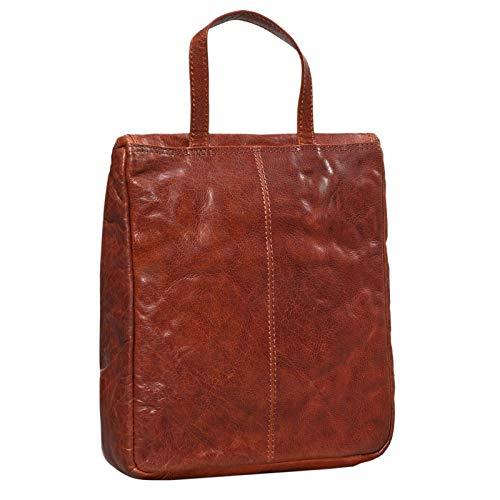 STILORD 'Lewi' Neceser Piel con Gancho Colgantes Hombres Mujeres marrón XL Grande Bolsa de Lavado de Piel Cuero auténtico Vintage Design, Color:Brandy - marrón