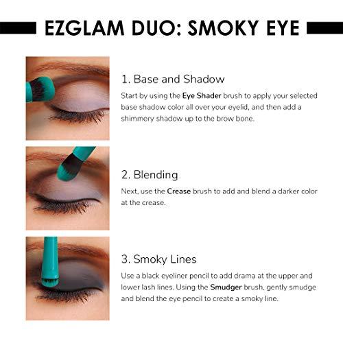 Moda Royal & Langnickel EZGlam Duo Smoky Eyes Juego de 2 brochas de maquillaje incluye – sombreador de ojos, cepillos para difuminar pliegues, verde azulado