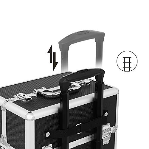 SONGMICS Maletín de Cosméticos, Organizador para Maquillaje, Multiuso, Tipo Trolley, con 4 Ruedas, Negro JHZ01B