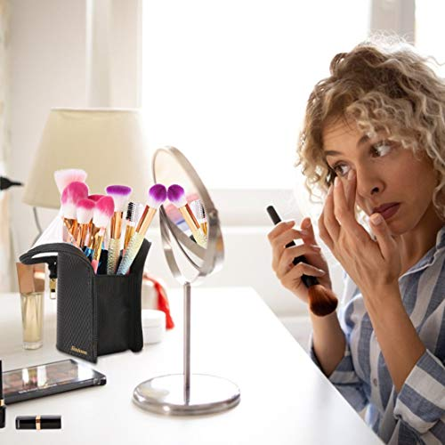 Simboom Estuche de Brochas de Maquillaje, Portable Cosméticos Organizador Maletín de Pie, Bolsa Multiusos para Cepillo de Maquillaje Profesional con Divisiones - Negro