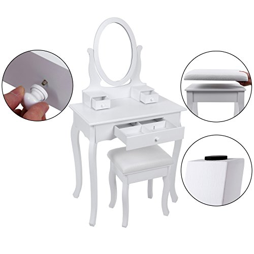 Songmics RDT004 - Tocador Mesa de Maquillaje con 3 Cajones, Espejo Oval, Taburete Acolchado, 70 x 40 x 130 cm