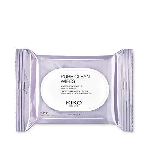 KIKO Milano Pure Clean Wipes | 25 toallitas desmaquillantes para rostro, contorno de ojos y labios