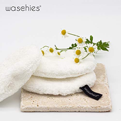 waschies® Tamponi struccanti lavabili Edizione bianco set di 7 | Finissima miscela di fibre di microfibra e viscosa, pulizia a pori profondi e a contatto con la pelle | Sostenibile solo con acqua