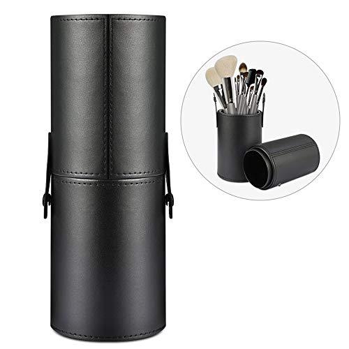 Etmurylgs - Estuche de viaje profesional con funda redonda de piel vegana, gran capacidad de almacenamiento para lápices, pinceles, encimera, contenedor (color negro)
