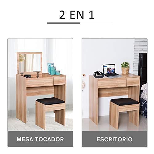 HOMCOM Tocador Mesa para Maquillaje con Taburete Espejo Tapa Abatible 3 Cajas y 1 Cajón de Almacenaje Tocador Moderno Madera