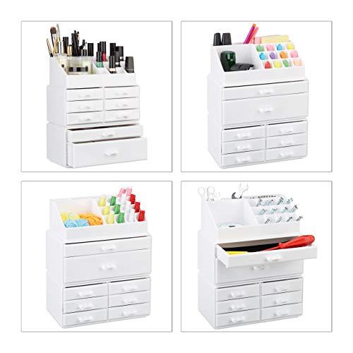 Relaxdays 10023135_49 Organizador Maquillaje con Cajones, Blanco, 14x24x30 cm