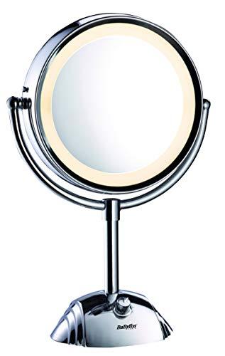 BaByliss 8438E Espejo de maquillaje de doble cara con X1 y X8 aumentos, cuenta con 3 ajustes de luz, 2 bombillas, espejo cromado