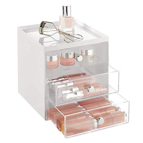 mDesign Organizador de Maquillaje – Cajas de Belleza con 3 cajones para Sombra de Ojos, labiales y más – Cajonera de plástico para organizar Maquillaje en el baño – Gris Claro/Transparente