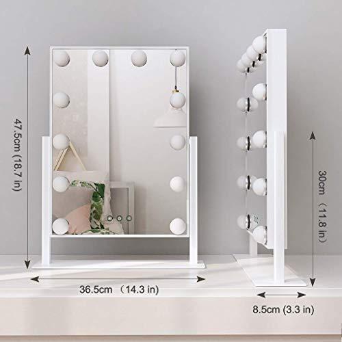 ANGNYA Espejo Maquillaje con Luz Ajustable, Espejo de Maquillaje Hollywood con 12 Bombillas LED en 3 Modos, Espejo Cosmético de Mesa de Control Táctil para Mujer, Regalo