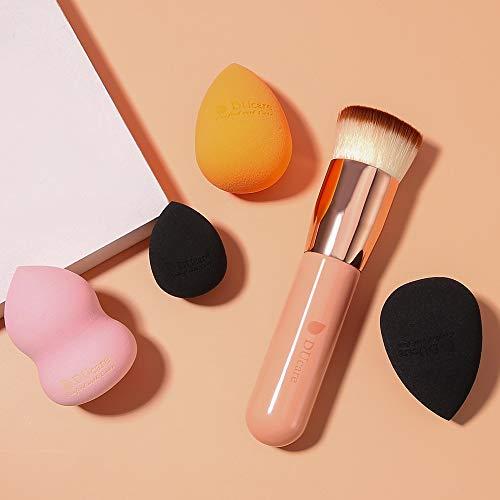 DUcare 4 Piezas Esponja Maquillaje + 1 Piezas Brocha de Base - Set de Makeup Blender Beauty para Base de Maquillaje, Ideal para Líquidos, Cremas y Polvos