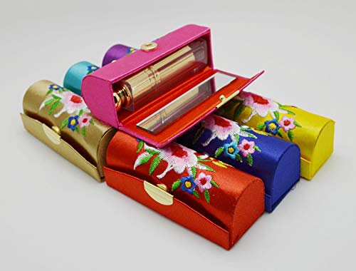 Estuche para pintalabios, estuche para pintalabios con espejo, Vococal-3 piezas portátil con botón de prensa para pintalabios, diseño retro de flores, bordado de primera calidad