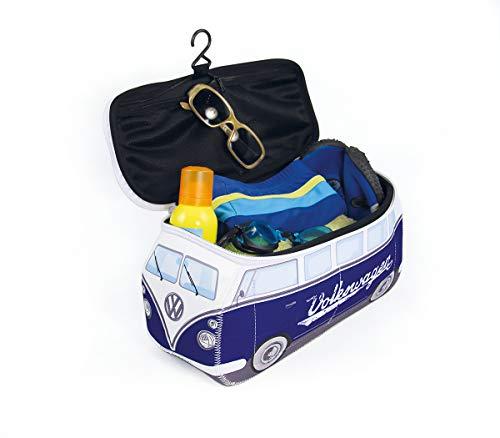 BRISA VW Collection - Volkswagen Furgoneta Hippie Bus T1 Van Bolsa Universal de Neopreno, Neceser, Bolso de Maquillaje-Cosméticos-Aseo, Estuche de lápices, Caja de Almuerzo, Equipaje (Clásico/Azul)