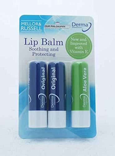 Derma Intensivo + Bálsamo Labial, Paquete de 3 Bálsamos Labiales (2 Bálsamo Labial Original + 1 Bálsamo Labial Aloe Vera)