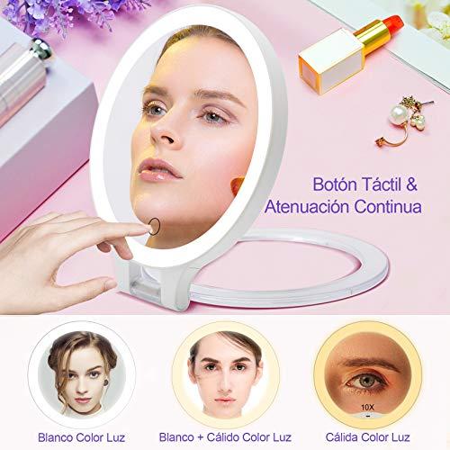 Recargable Espejo Maquillaje con Luz 3 Modos Iluminación Colores,72Leds Espejo de Mesa, Espejo de Aumento de Pared, 1X, 10X Ampliación, Espejo Lateral doblecosmética Afeitar Espejos para Baño