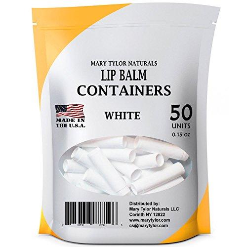 Mary Tylor Naturals Contenedores bálsamo para los labios, tubos redondos, 0.15 oz, con tapas, para el bricolaje casero lápiz labial Lip Balm 50 blanco