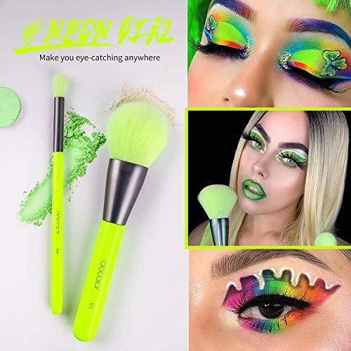 Docolor brochas de maquillaje 15piezas kit brochas maquillaje Neon Green Polvo facial Correctores de rubor Brochas para sombras de ojos Kit de maquillaje profesional con caja de regalo