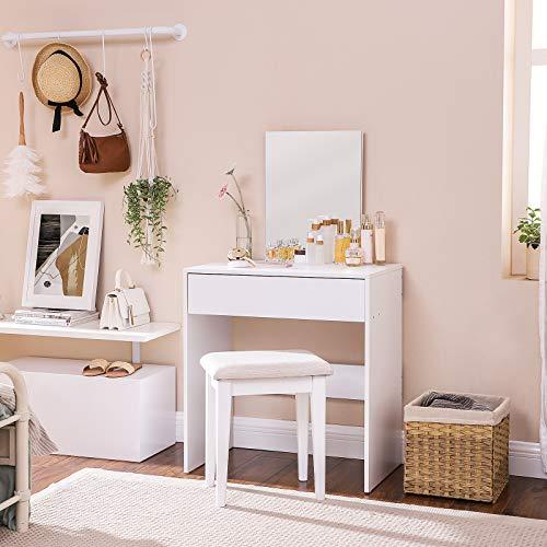 VASAGLE Tocador Moderno, Mesa de Maquillaje Rectangular con Espejo, Cajón XXL, para Dormitorio, Estilo Minimalista, Blanco, 70 x 40 x 125 cm