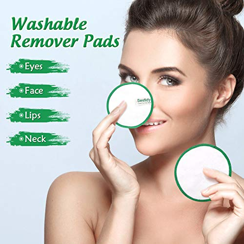 Bestidy 16 Pieza Discos Desmaquillantes Reutilizables con Bolsa de Lavandería,Almohadillas para removedor de cara/ojos,Almohadillas lavables de algodón de bambú (16pcs)