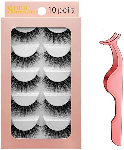3D Pestañas Postizas, Natural Pestañas Falsa, pestañas largas gruesas, Extensiones para las pestañas Maquillaje de Moda, con Rizador de Pestañas, 10 pares