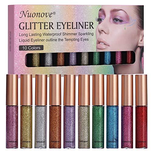 Delineador De Ojos Brillo, Glitter Eyeliner, Liquid Glitter Eyeliner, Delineador de ojos de Colores, Sombra de ojos Shimmer Sparkling Eyeliner de larga duración a prueba de aguaeliner 10 Colores