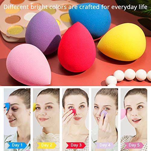BEAKEY Esponja Maquillaje, Set de Makeup Blender Beauty para Base de Maquillaje, Ideal para Líquidos, Cremas y Polvos, 5 Unidades