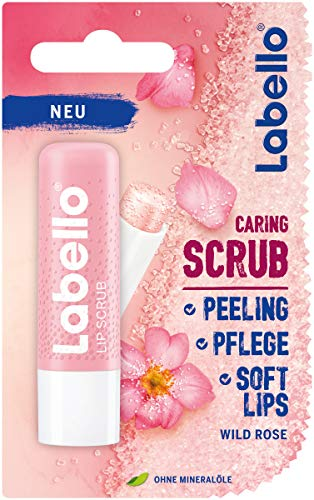 Labello Lip Scrub Wild Rose (5,5 ml) - Cuidado de labios innovador con partículas exfoliantes de origen natural, peeling de labios suave con vitamina E