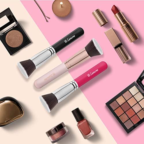 Brochas De Maquillaje Kabuki Profesional - Pincel Facial Ideal Para La Aplicación De Bases De Maquillaje Liquido Tradicionales y Fluidas - Perfecto También Para Aplicar y Difuminar Bases de Maquillaje en Polvos Suelto y Compacto - Calidad Premium - Fibras Sintéticas Gruesas - Color Oro Rosa