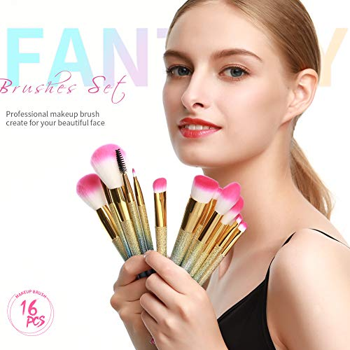 Docolor brochas de maquillaje profesional 16 piezas,pinceles maquillaje con caja de arcoíris para corrector de rubor,mezcla de base,sombra de ojos,facial,líquido,polvo,crema