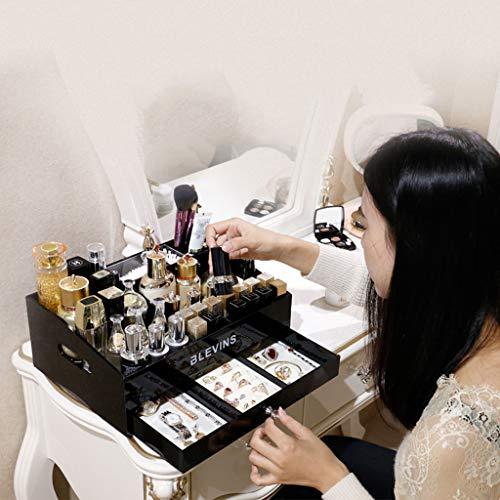 Calyvina Conjuntos De Exhibición De Estuches De Almacenamiento De Joyas Y Maquillaje De Acrílico, Cajón De Maquillaje Extraíble Organizar - para Baño, Tocador, Tocador (Negro),Black,33 * 22 * 13Cm