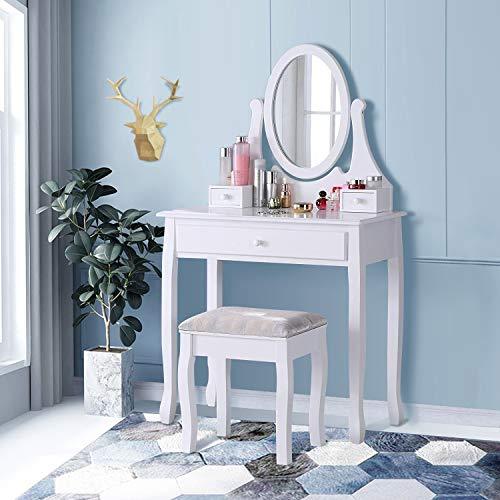 TMEE - Juego de tocador y taburete de madera blanca clásica con espejo ajustable y cajón de maquillaje para mujeres y niñas