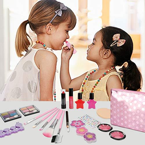 Herefun Kit de Maquillaje Niñas, 21 Piezas Juego de Maquillaje para Niños para Niñas, Kit de Juguete de Maquillaje Lavable, Cumpleaños Regalo de Princesa para Niñas en Fiesta