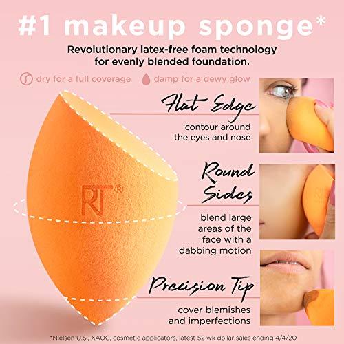 Real Techniques - Esponja milagrosa para maquillaje de rostro, cobertura total, con estuche de viaje (el embalaje y el color pueden variar)