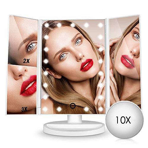 Espejo de Maquillaje Iluminado, 21 Luces LED Espejo Cosmético de Tocador, Pantalla Táctil de Aumento Tri-Fold 2X 3X 10X de Aumento, Rotación Libre de 180 °, Fuente de Alimentación Dual Blanco