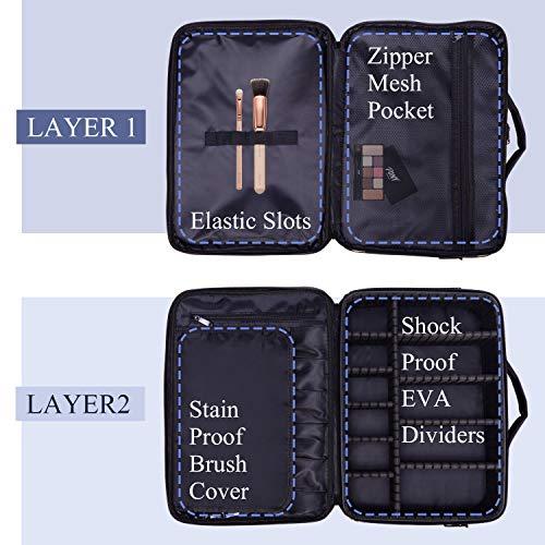 Neceser Maquillaje Organizador Grande Profesional Maletin Maquillaje Estuche Maquillaje Neceser Maquillaje Tela para Maquilladores Bolso Maquillaje para Mujer Viaje con Correa Negro