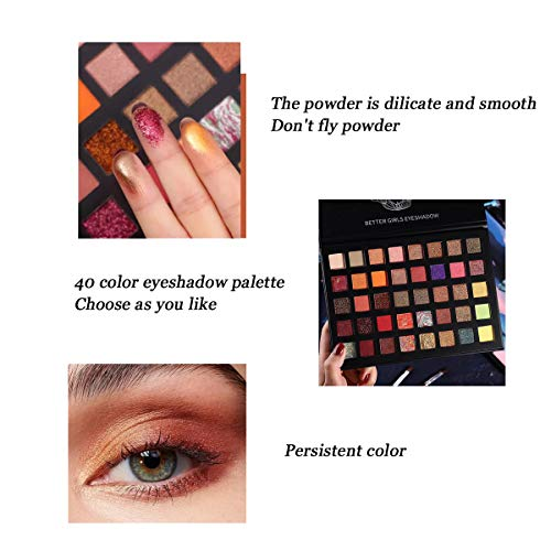 Paleta de sombras de ojos 40 colores Brillo altamente pigmentado y brillo metálico mate Paletas de maquillaje de ojos brillantes Polvo liso colorido impermeable para regalo de mujer