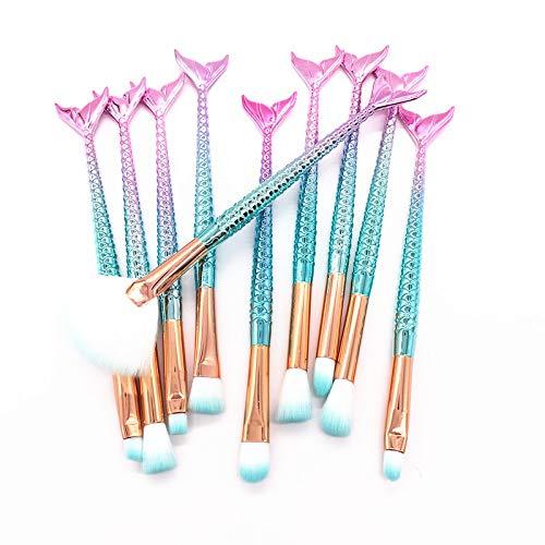 Juego de 11 brochas de maquillaje 3D con diseño de sirena