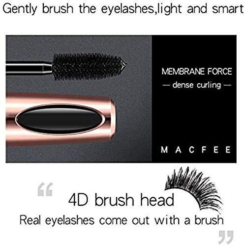 Máscara de pestañas de fibra de seda 4D, máscara de pestañas extralarga, impermeable, no floreciente, rizado, maquillaje natural de ojos de larga duración, color negro