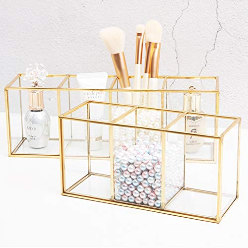 Boyigog Vidrio Organizador Maquillaje, Bandejas Decorativas, Transparente con Perlas para Baño Tocador Cosméticos y Almacenamiento para El Cuidado de La Piel