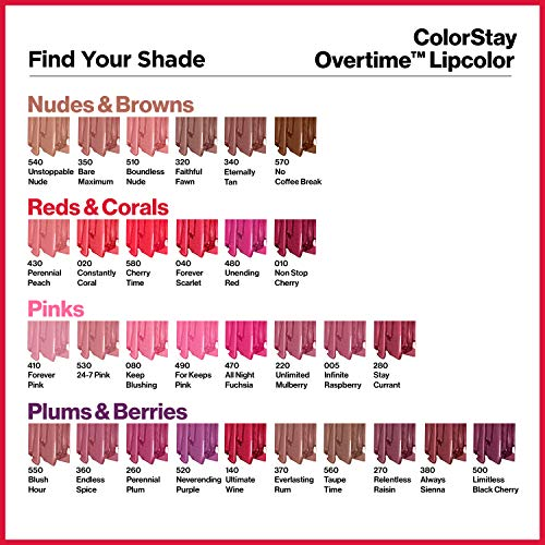 Pintalabios ColorStay Overtime, color rojo coral (Constantly Coral), de la marca Revlon