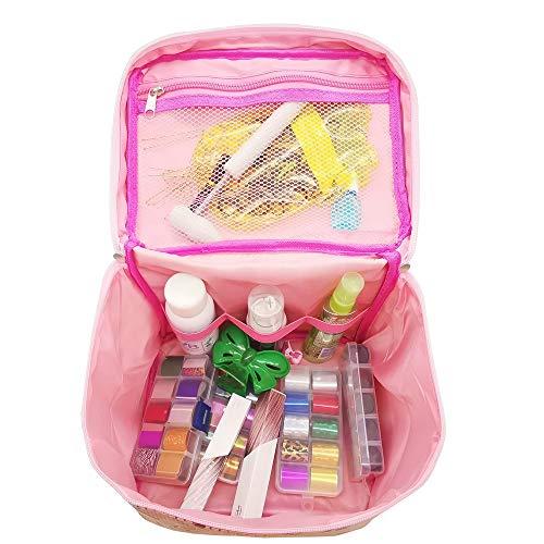 Neceser grande para maquillaje, cosméticos bolsas de mano,Cosméticos maquillaje bolsa, Estuche Cosmético Regalo para niñas mujeres-Rosado